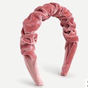 NEW J. Crew Scrunchie Headband Pink Velvet